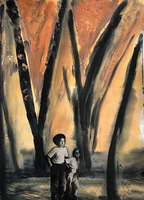 Allein im Wald, 2019, Acryl, Collage auf Papier, 30x22 cm