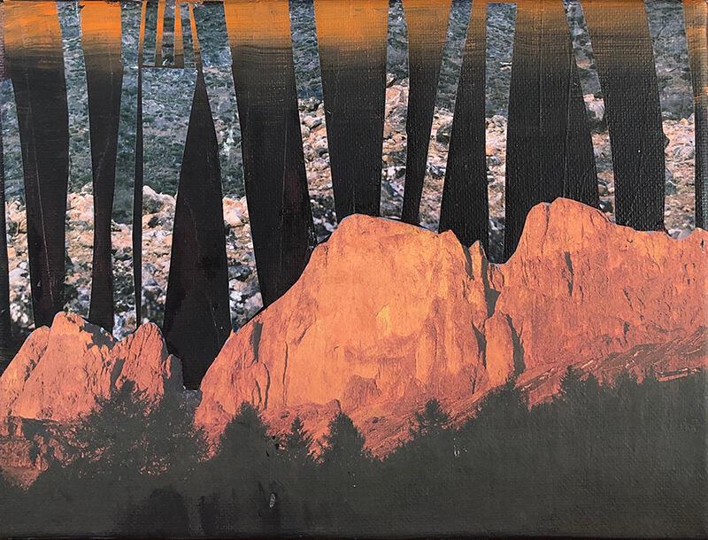Die Bäume wachsen in den Himmel, 2020, Acryl, Collage auf Leinwand, 18x24 cm
