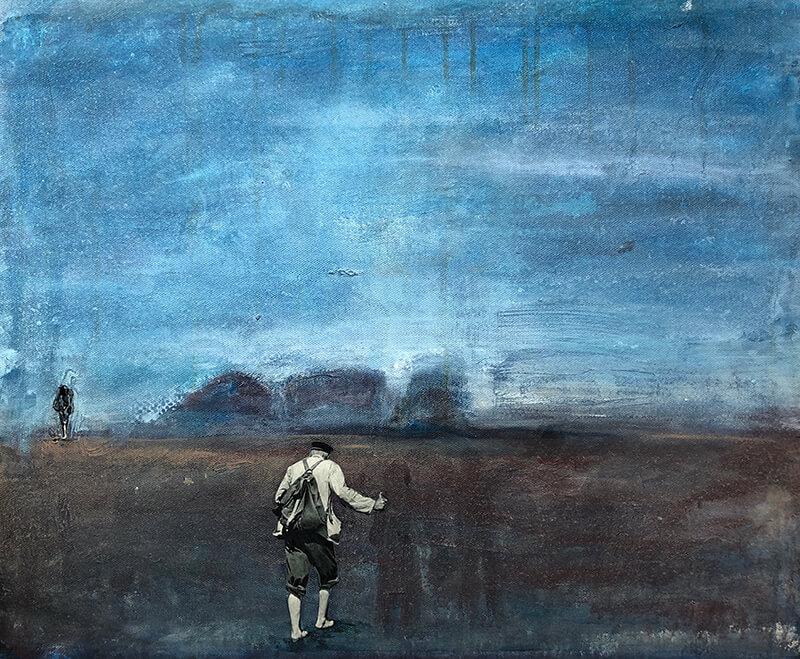 Die Geister, die ich rief, 2019, Acryl, Collage auf Leinwand, 50x60 cm