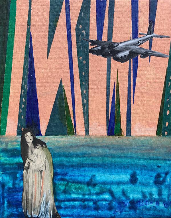 Fear of flight, 2019, Acryl, Collage auf Leinwand, 30x24 cm