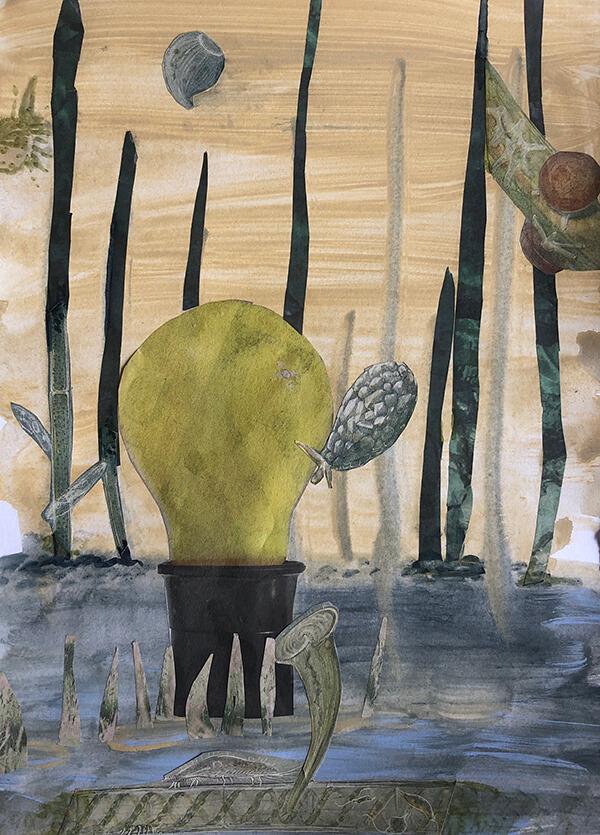 Flowing, 2019, Acryl, Collage auf Papier, 29x21 cm