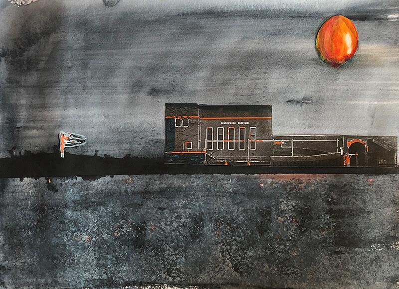 Greetsiel, 2020, Tusche, Gouache, Collage auf Leinwand, 21x29 cm