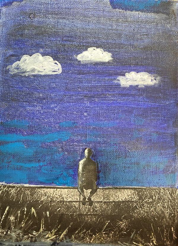 I'm just sitting on a fence, 2020, Acryl, Collage auf Leinwand, 24x18 cm