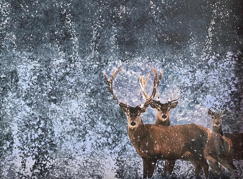 Ist so kalt der Winter, 2020, Acryl, Collage auf Leinwand, 18x24 cm