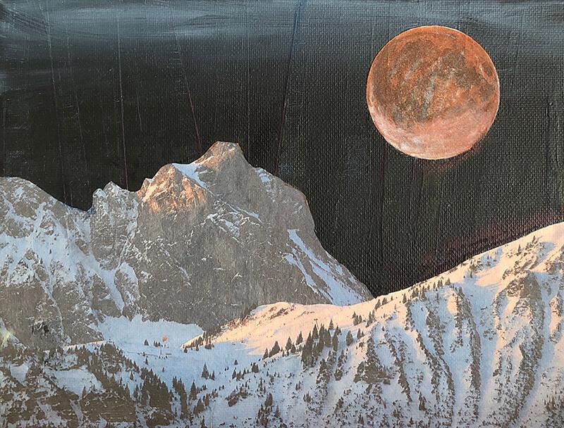 Meine Heimat ist das Meer, 2020, Acryl, Collage auf Leinwand, 18x24 cm