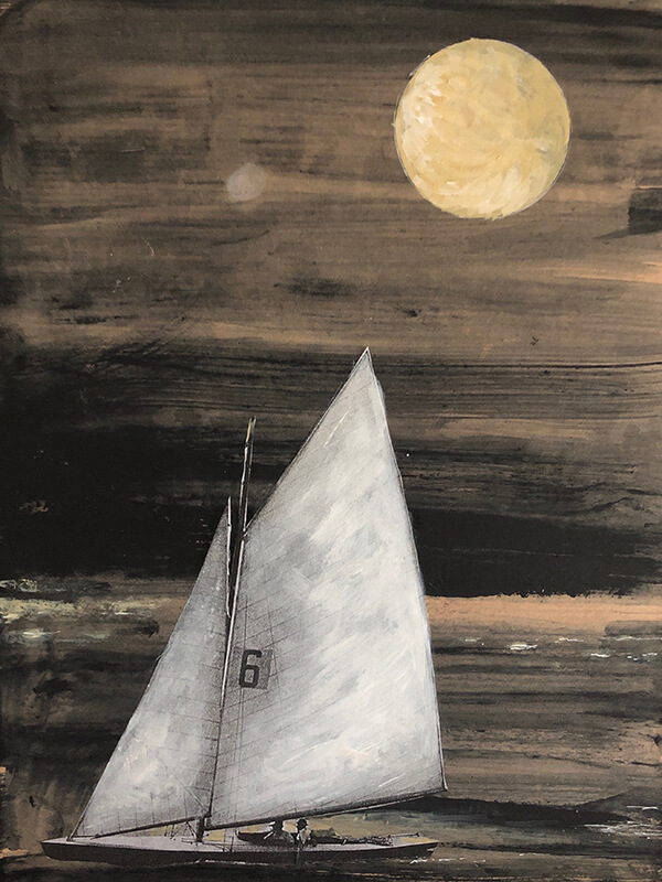 Moonlight, 2020, Acryl, Collage Papier auf Leinwand, 40x30 cm
