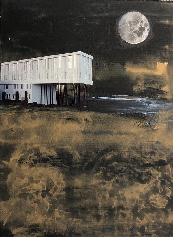 Moonlight shadow, 2019, Acryl, Collage, Papier auf Leinwand, 40x30 cm