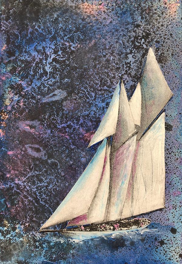 Raiders in the storm, 2020, Acryl, Tusche, Collage auf Papier, 30x22 cm