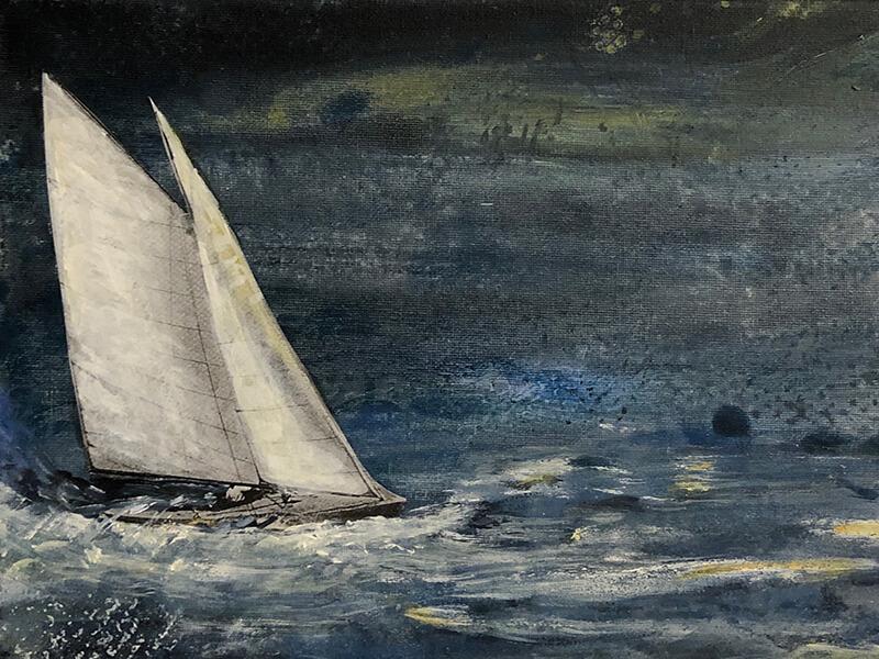 Sailing I, 2019, Acryl, Collage auf Leinwand, 24x30 cm