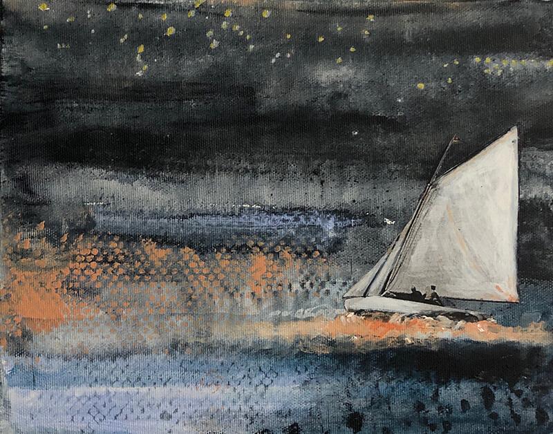 Sailing II, 2019, Acryl, Collage auf Leinwand, 24x30 cm