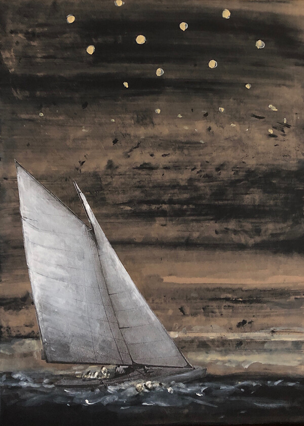 Sailing stars, 2020, Acryl, Collage, Papier auf Leinwand, 40x30 cm