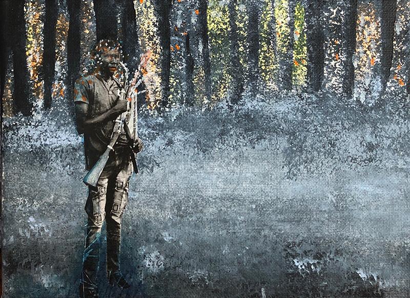 They call me hunter, 2020, Acryl, Collage auf Leinwand, 18x24 cm