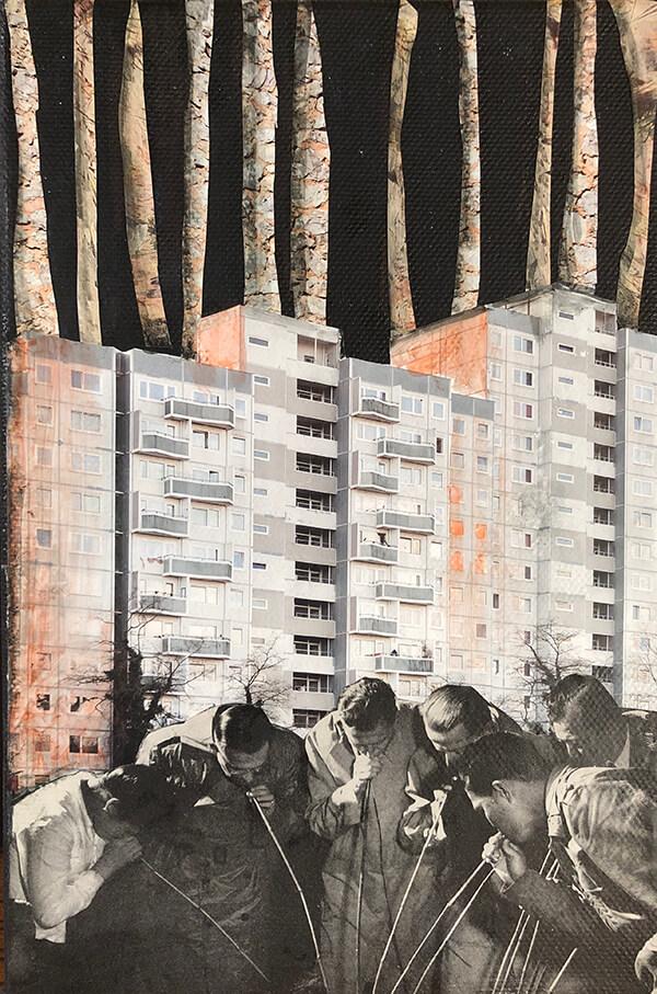 Thinking and drinking, 2020, Acryl, Collage auf Leinwand, 30x20 cm