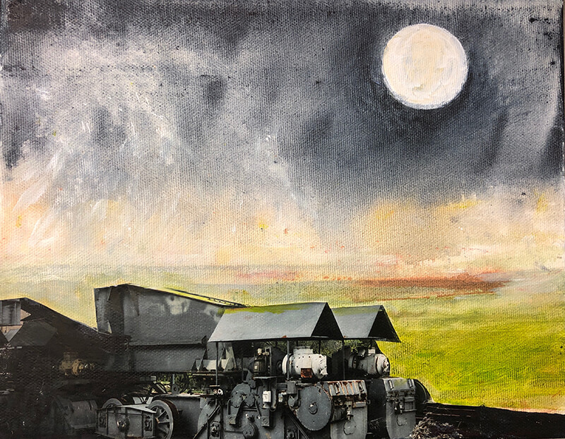 Working, 2019, Acryl, Collage auf Leinwand, 24x30 cm